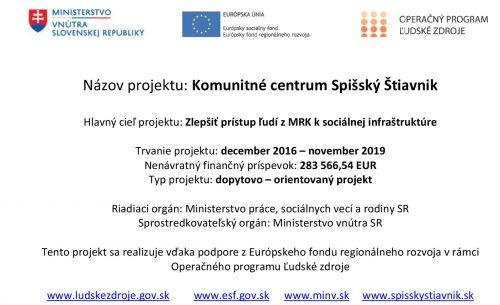 Informačná tabuľa - Komunitné centrum Spišský Štiavnik